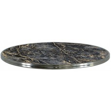 Bistro Black&Gold Marble Silver Edge